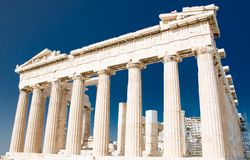 Parthenon temple on Acropolis hill in Athens, Greece royalty free stock photo