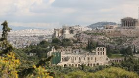 Parthenon temple on the Acropolis hill of Athens. (HD) stock footage