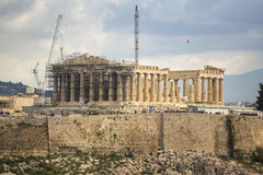 Parthenon temple on the Acropolis hill. Parthenon is a former temple on the Athenian Acropolis Royalty Free Stock Photography