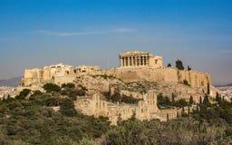 The Parthenon Temple at the Acropolis mountain of Athens, Greece, Europe royalty free stock image