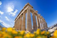 Parthenon temple against sunrise on the Athenian Acropolis, Gree Stock Photos