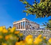 Parthenon temple against sunrise on the Athenian Acropolis, Gree Royalty Free Stock Photos