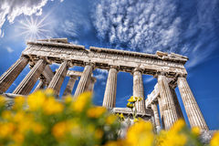 Parthenon temple against sunrise on the Athenian Acropolis, Gree Royalty Free Stock Photography