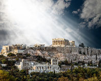 Parthenon Temple on Athenian Acropolis bathed in Light of Gods Stock Photography