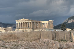 Parthenon temple in Athens. Scenic view of Parthenon temple on Acropolis hill in Athens viewed from Filapopos Hill, Greece Stock Photos