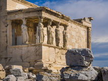 Parthenon temple, Athens, Greece. The ancient Porch of Caryatides in Acropolis, Athens, Greece Stock Images
