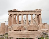 Parthenon temple. The Parthenon is a former temple, on the Athenian Acropolis, Greece, dedicated to the goddess Athena, whom the people of Athens considered Stock Image