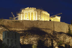 Parthenon temple illuminated Stock Image