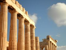 Parthenon Temple. Ruins of the Parthenon Temple in Athens stock images
