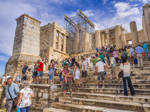 Parthenon temple steps in Athens, Greece. Parthenon temple steps with thousands of tourists visiting everyday from around the world Royalty Free Stock Images