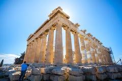 Parthenon temple on a sunny day. Acropolis in Athens, Greece stock photo