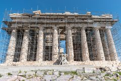 Parthenon temple on a sunny day. Acropolis in Athens stock image