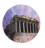The Parthenon temple watercolor hand drawing, famous arhitectural buillding isolated Stock Images