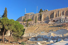 Parthenon and theater of Dionysus in Athens, Greece Stock Photo