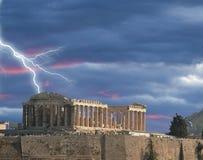 Parthenon thunder winter in AcropolisAthens Greece royalty free stock photo