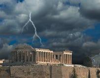 Parthenon thunder winter in AcropolisAthens Greece stock photo