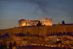 Parthenon at twilight, illuminated Royalty Free Stock Images