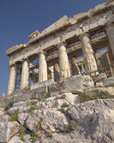 Parthenon unusual perspective, view of the internal riser and frieze Royalty Free Stock Photos