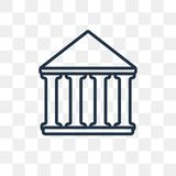 Parthenon vector icon isolated on transparent background, linear stock illustration