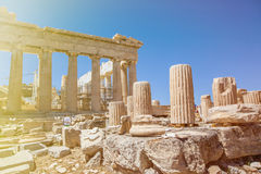 Parthenon view. Parthenon in acropolis in sunlight, athenes, greece Royalty Free Stock Photography