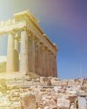 Parthenon view. Parthenon in acropolis in sunlight, athenes, greece Stock Photo