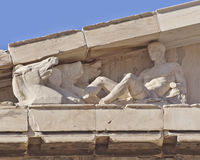 Parthenon west pediment, horse heads and Dionysus Royalty Free Stock Photos