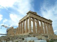 Parthenonen, berömd tidigare tempel på akropolen av Aten Arkivbilder
