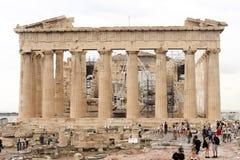 Parthenonen i akropol av athens Arkivbild