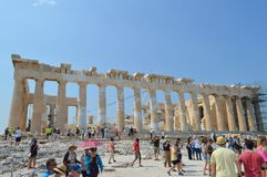 Parthenontempel in Akropolis in Athene, Griekenland op 16 Juni, 2017 Stock Afbeelding