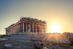 Parthenontempel på akropolen i Athense arkivfoto
