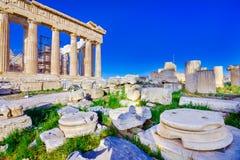Parthenontempel på akropolen i Athense royaltyfri bild