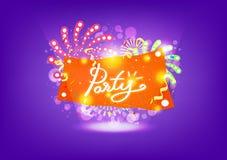 Parti, berömfyrverkeriexplosion, idérik baneraffischdesign, band, ballonger och confetii, blinka för dammgnistrande royaltyfri illustrationer