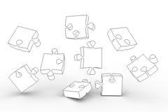 Parti bianche di puzzle Fotografie Stock Libere da Diritti