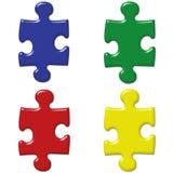Parti colorate primarie di puzzle Immagini Stock