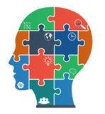 Parti dei puzzle con le icone sotto forma di fronte. Fotografie Stock Libere da Diritti