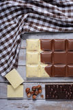 Parti del cioccolato delle mattonelle Fotografia Stock Libera da Diritti