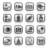 Parti dell'automobile ed icone in bianco e nero di servizi Immagini Stock