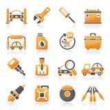 Parti dell'automobile ed icone di servizi Fotografie Stock Libere da Diritti