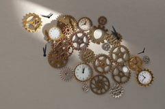 Parti dell'orologio compreso gli ingranaggi ed i denti immagine stock