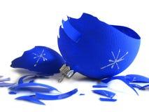 Parti della sfera blu rotta Fotografie Stock Libere da Diritti