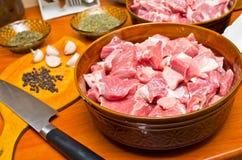 Parti di carne grezza Fotografia Stock Libera da Diritti