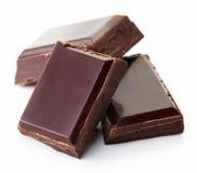 Parti di cioccolato scuro immagine stock