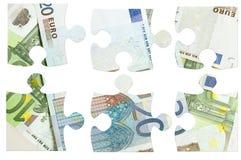 Parti di euro puzzle delle banconote Immagini Stock Libere da Diritti
