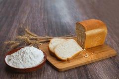 Parti di pane bianco Fotografia Stock