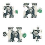 Parti di puzzle del dollaro Immagine Stock