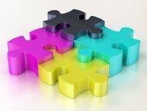Parti di puzzle di puzzle di Cmyk illustrazione di stock