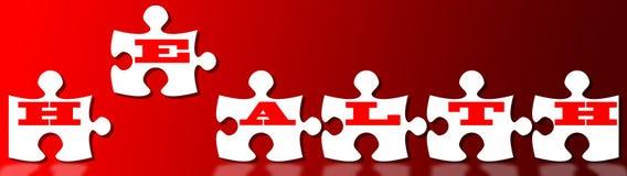 Parti di puzzle di salute sopra colore rosso illustrazione di stock