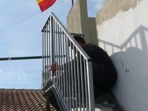 Parti di saldatura dell'uomo della scala d'acciaio Fotografie Stock Libere da Diritti
