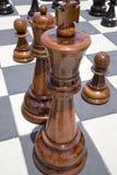 Parti di scacchi di legno Fotografia Stock