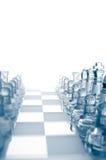Parti di scacchi di vetro trasparenti Fotografia Stock